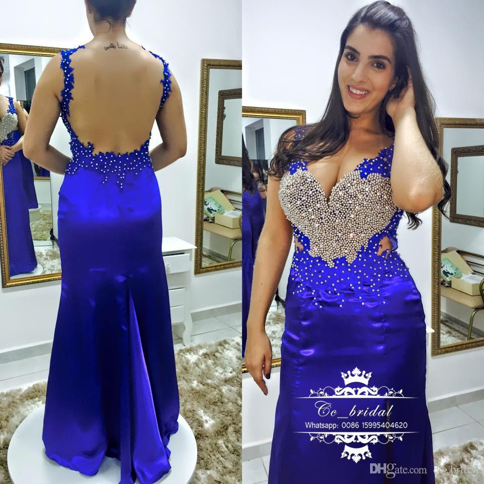 New Plus Size Royal Blue Mermaid Prom Dresses With Shinning Pearls