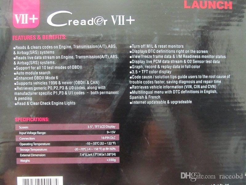 모든 차량에 X431 Creader VII + 코드 리더 출시 스캐너 인터넷 업데이트 무료 런치 카 스캔 도구