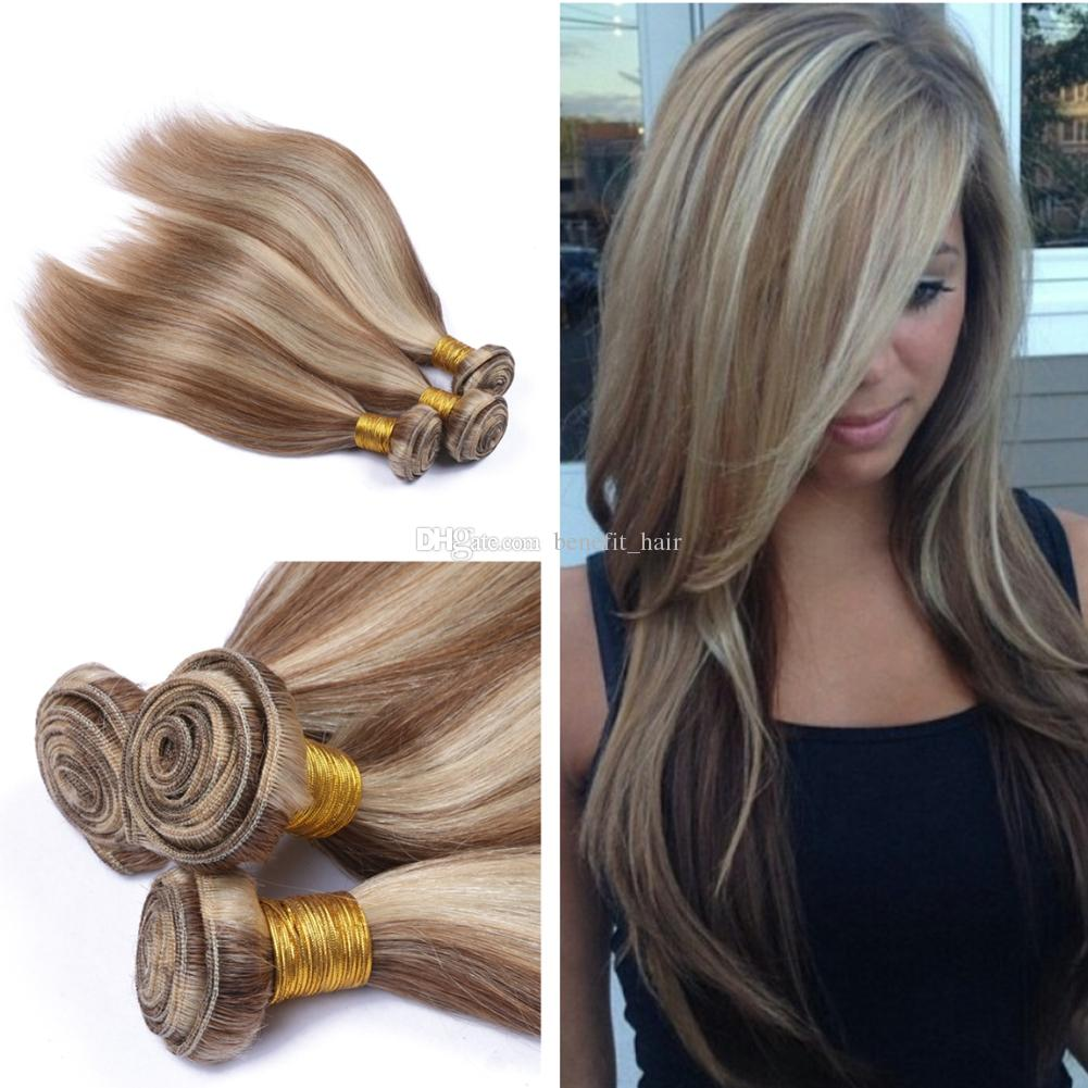 Mezcla de color 8 613 cabello humano teje 3 paquetes Trama mediana Browm y rubia Virgen Extensión del cabello humano Dos tonos de pelo liso