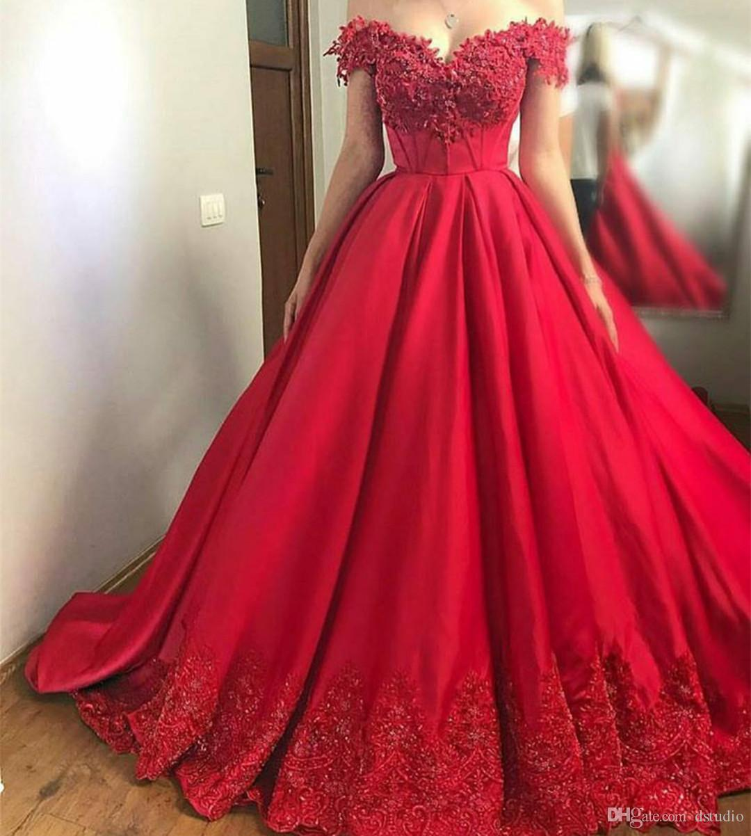 d9ff8d253eb High Waist Ball Gown Prom Dress Off Shoulder Satin With Floral Applique  Beads Sequins Sweep Train Evening Gowns Lace Up Back Tie Dye Prom Dresses  Usa Prom ...