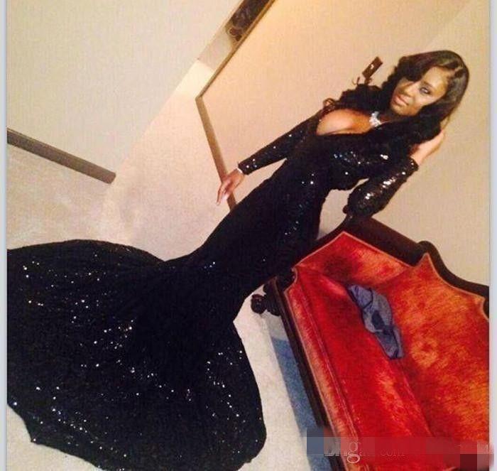 2019 manches longues noir fille sirène robes de bal Bling paillettes plongeant décolleté en V tribunal train africain sexy formelle robes de soirée femmes