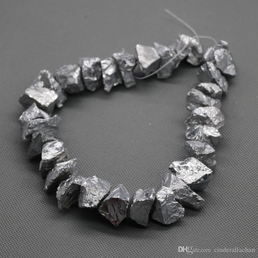 Titane Argent Pendentif Cristal Brut Quartz Cristal Brut, Brut Guérir Brut Spikes Top Percé Briolettes Rock, Bijoux Collier De Femmes