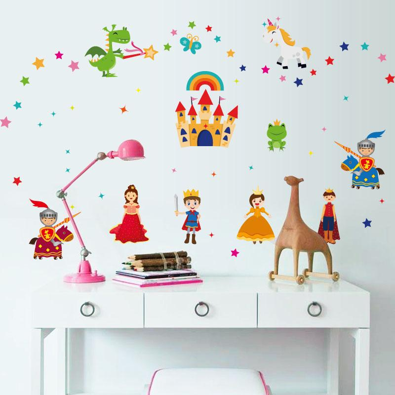 Prince Princess Wall Stickers For Kids Rooms Baby Bedroom Nursery