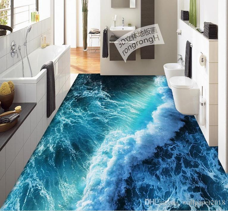 D Pvc Floor Wallpaper For Bathroom Summer Surf Floor Painting Vinyl - 3d vinyl flooring for sale