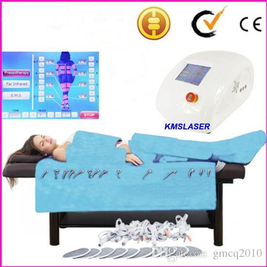 New Blue cloth 3in1 Pressotherapy Far Infrared fat dissolving air pressure lymphatic drainage EMS massager Slimming weight loss device