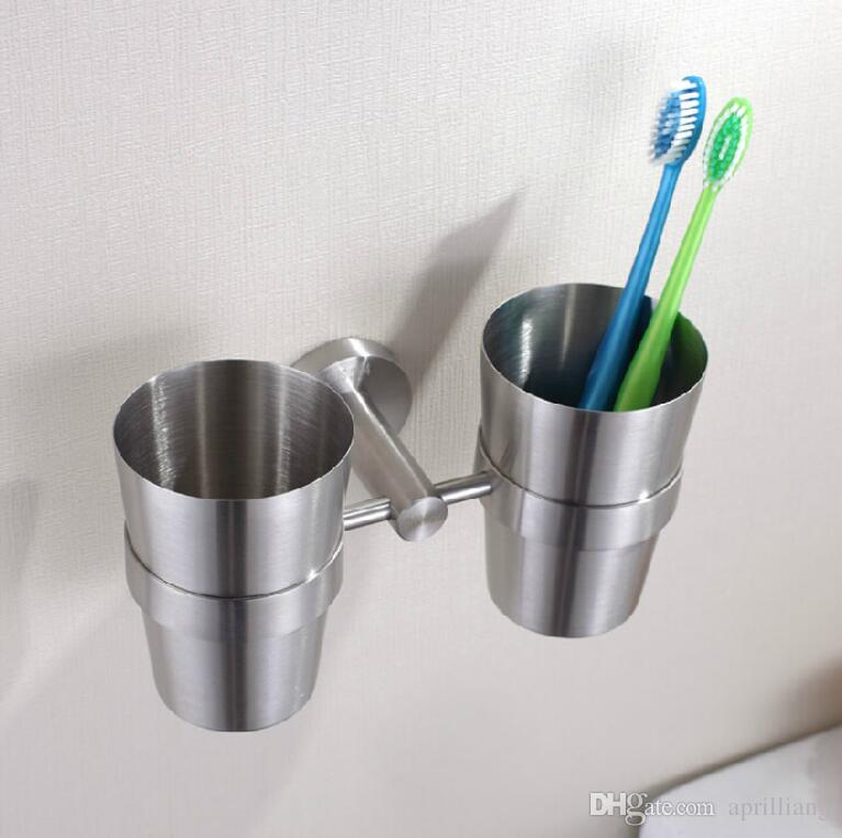 Brand New Bathroom Accessories Toothbrush Toothpaste Holder Double Cups  Tumbler Bracket Wall Mounted Brushed Nickel Finishes Toothbrush Holder  Toothpaste ...
