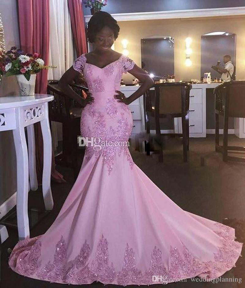 2017 Africa Saudi Arabia Pink Mermaid Prom Dresses Sexy Short Sleeves Evening Dresses Lace Appliques Beaded vestido de festa