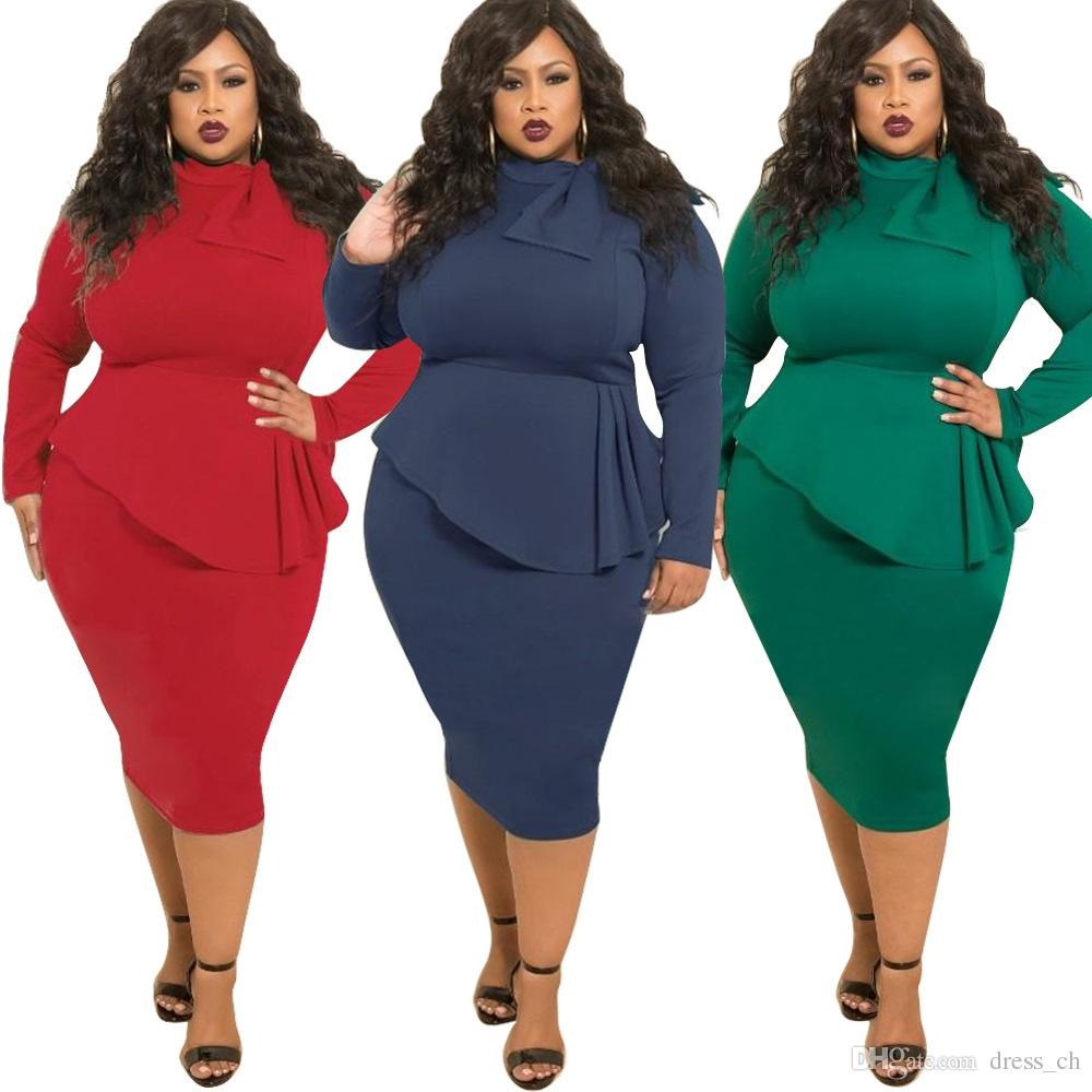 047db4963ad 2019 XL 5XL Womens Autumn Casual Office Long Sleeved Bodycon Pencil Midi  Dress Ladies Fall Clubwear Cocktail Party Evening Dresses Plus Size From  Dress ch