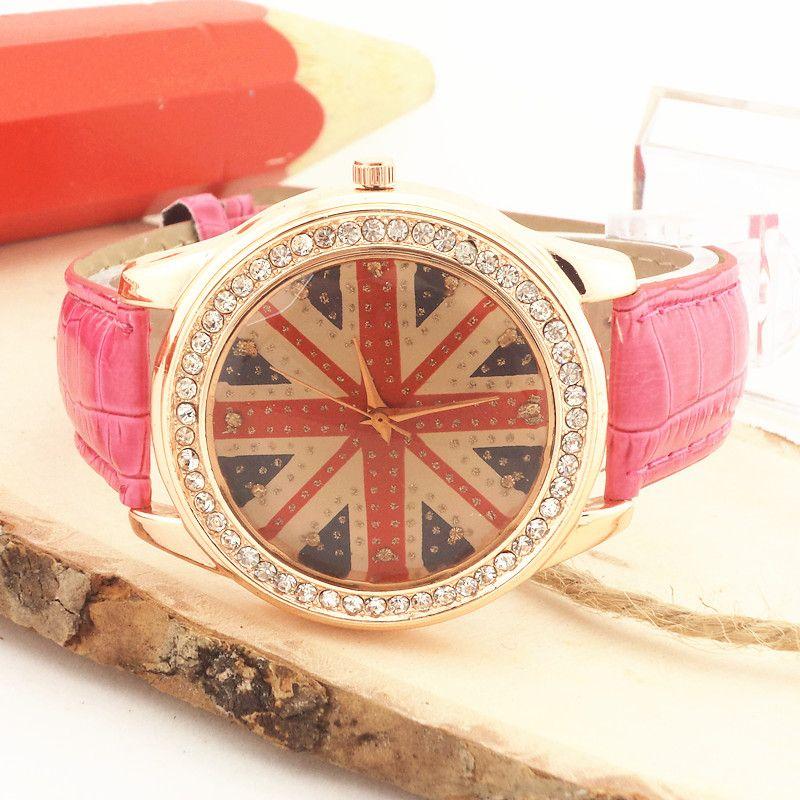 !PVC leather band,gold plating alloy case,rhinestone deco,UK banner imprint dial,Gerryda fashion woman lady quartz watches