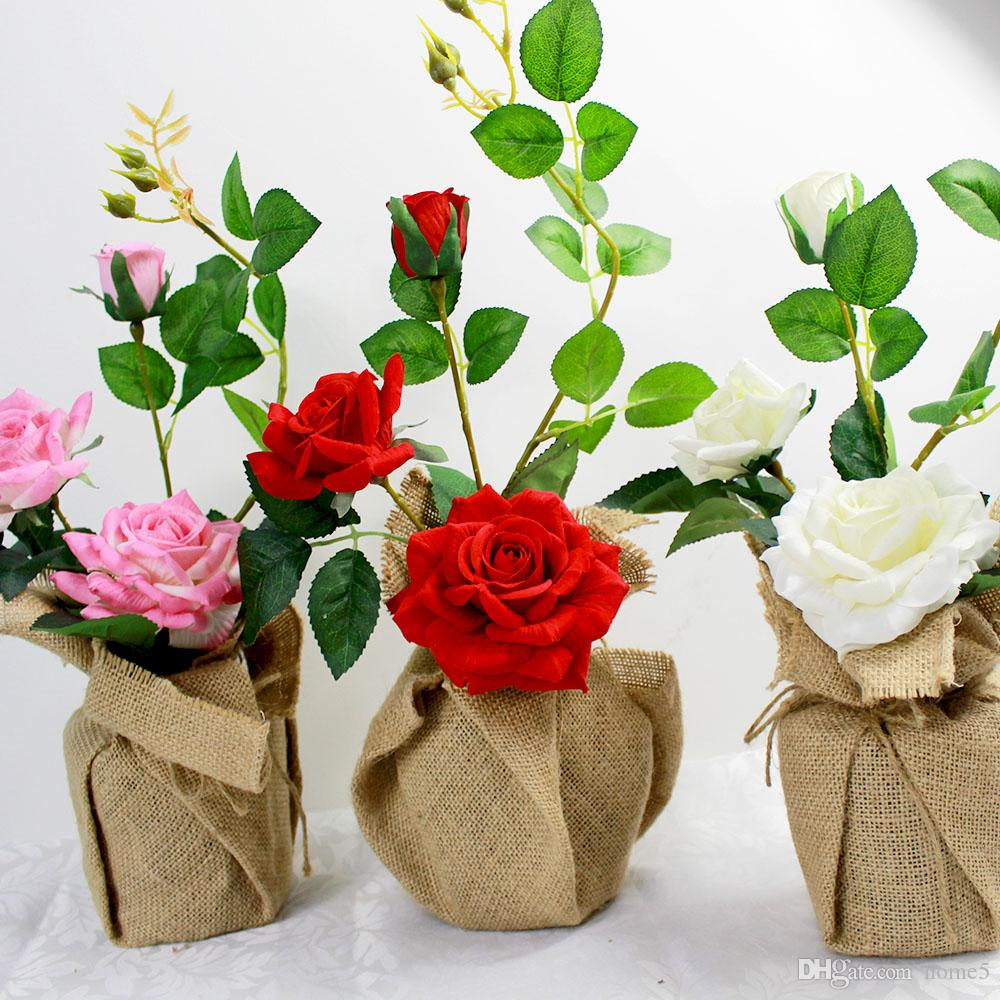 Wholesale wedding flower artificial roses potted flowers linen wholesale wedding flower artificial roses potted flowers linen package with vase party gift for christmas home decoration wedding flower artificial roses izmirmasajfo
