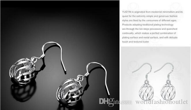 En iyi Oymak Topu Damla Küpe topu fener şekli Bijoux Kadınlar 925 Stering Şerit kaplama Uzun Küpe Brincos Pendientes Mujer Takı