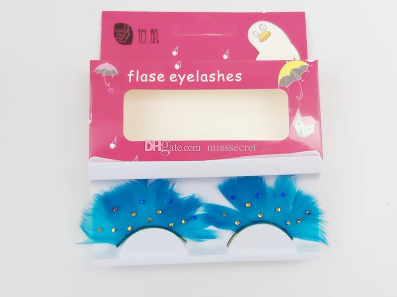 3D False Feather Eyelashes with Diamond Gorgeous Natural Fake Eye Lashes Strip Eyelashes Colored Eyelash Extensions Beauty Makeup Tools