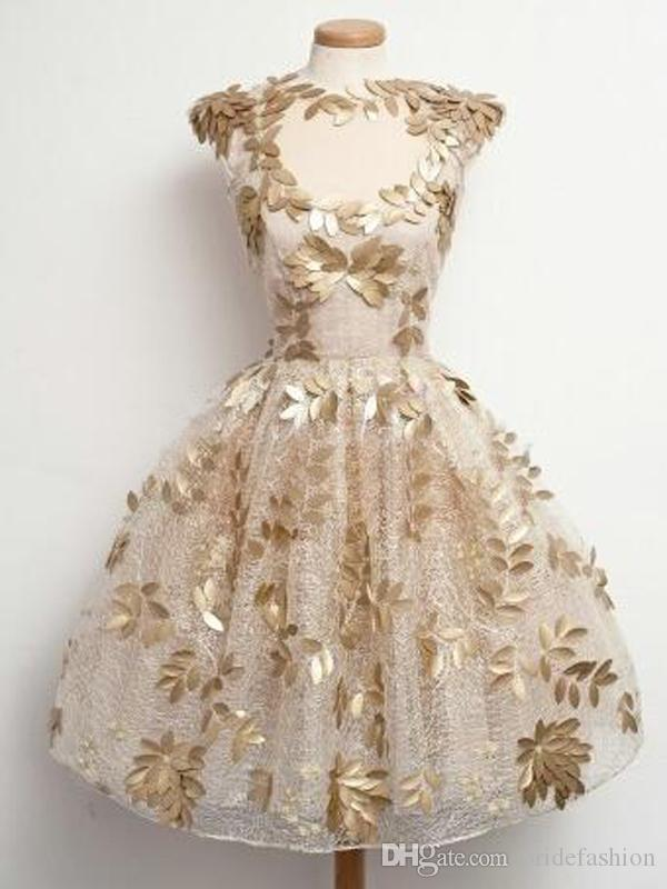 Jewel short sleeves gold leaves lace champagionreal photo ball gown homecoming prom graduation cocktail dresses evening gowns party guest