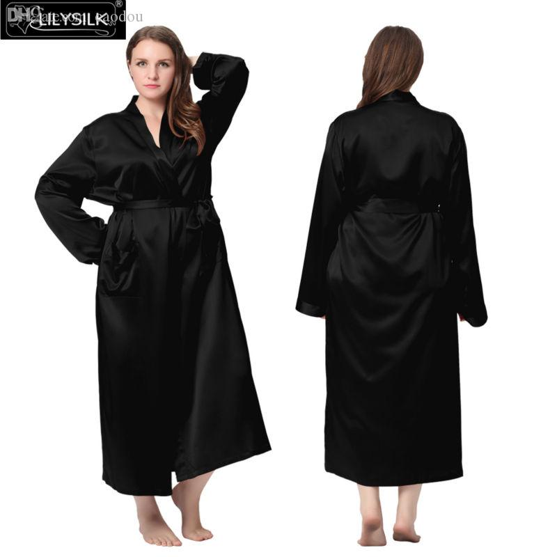 Wholesale,Lilysilk 100% Pure Silk Women Plus Size Oversized Robes 22 Momme  Long Classic Style Bathrobe Luxurious Satin Bride Sleepwear Robe Qipao Silk  Robes