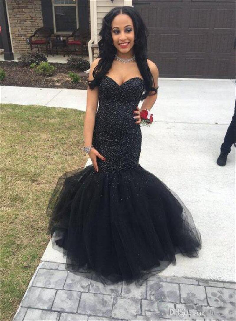 Black Girl Prom Dress Mermaid Style Sweetheart Sequins Beads Tutu ...