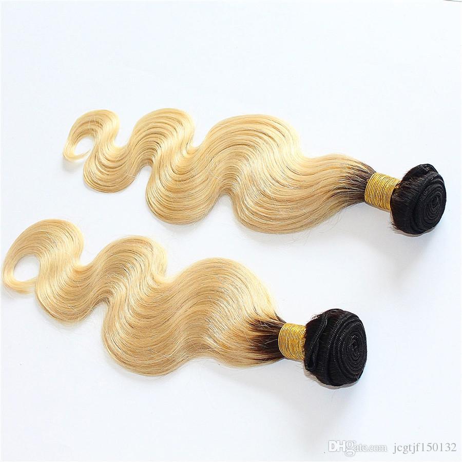 Bionda brasiliana ombre capelli biondi 1b / 613 brasiliani dell'onda del corpo dei capelli del virgin 200 g / pz 2 pz / lotto groviglio spargimento libero ombre estensioni dei capelli