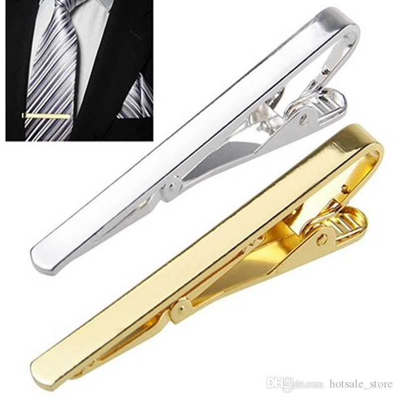 Hot sale 6 styles Fashion Metal Silver Gold Simple Necktie Tie Bar Clasp Clip Clamp Pin for men gift In stock