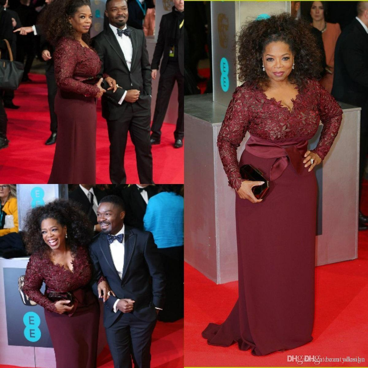 Oprah Winfrey Burgundy Mother of the Bride Dresses Long Sleeves Sexy V-Neck Sheer Lace Sheath Plus Size Celebrity Red Carpet Gowns