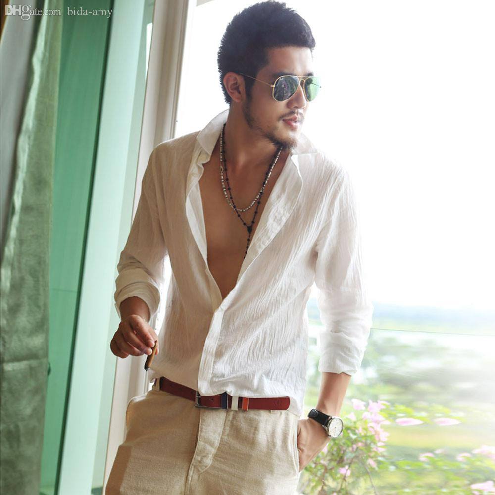 950994145 2019 Wholesale Male Shirt Brand Clothing Mens Dress Casual Social Long  Sleeved Shirts Linen Feida From Bida Amy, $29.43   DHgate.Com