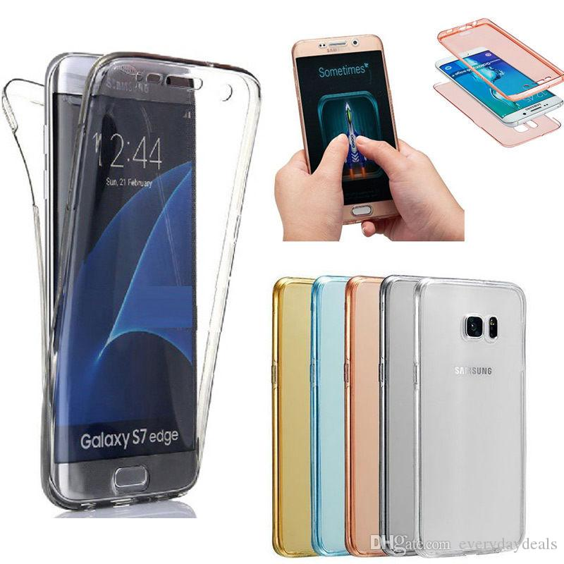 For iphone 6 6s plus 5 5s se Samsung S7 edge 360 Degree Front Back Case Transparent 2 in 1 Soft TPU Cover