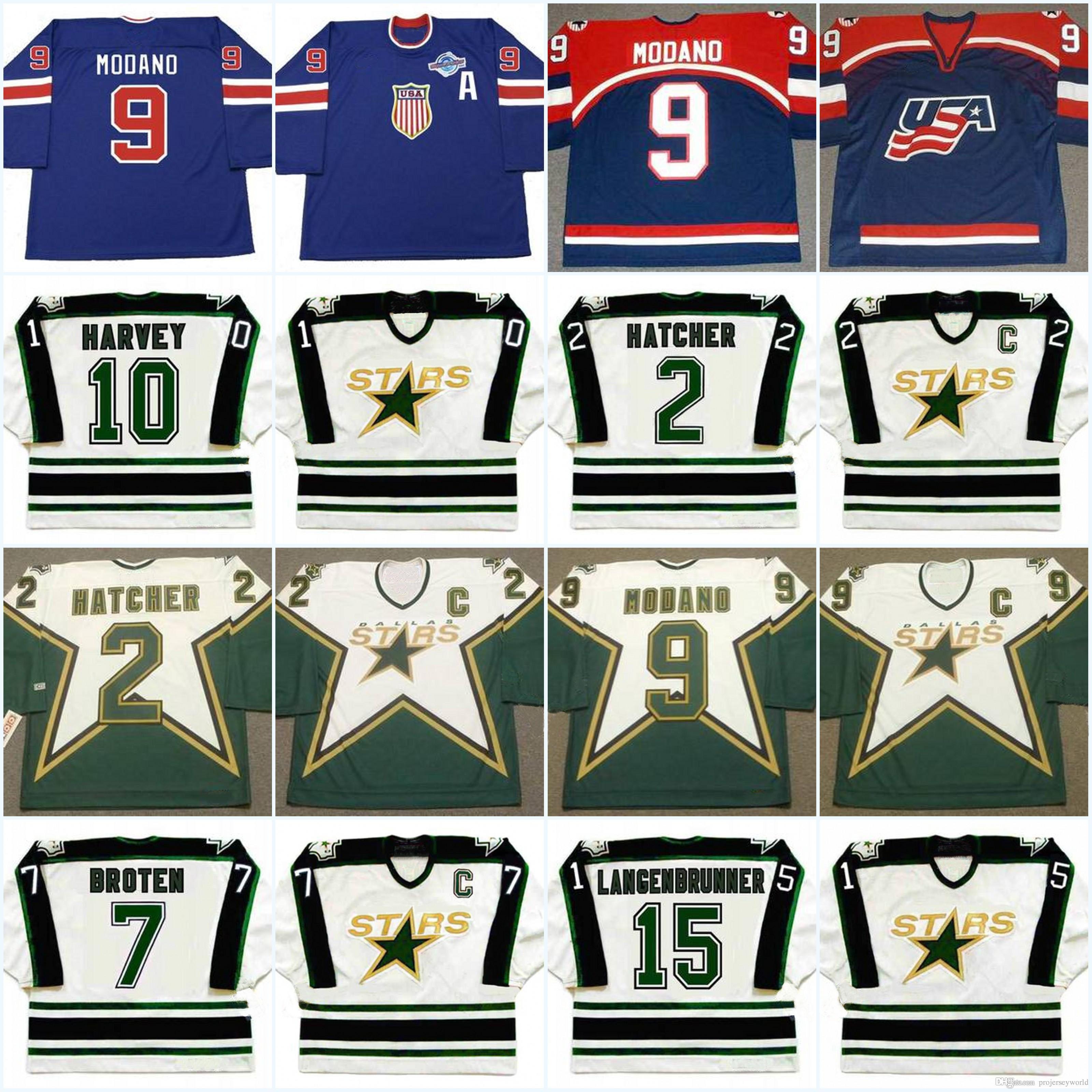 830596963 2019 Dallas Stars Mens 5 DARRYL SYDOR 1990 S 2 DERIAN HATCHER 7 NEAL BROTEN  9 MIKE MODANO Vintage Hockey Jerseys From Projerseyworld