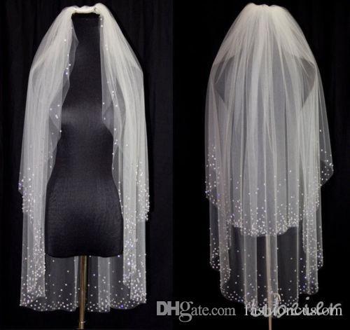 Nouveau 2 niveaux White White Ivory Veils Veils Finertipar Longueur Mariage Voile Crystal Peigne Crystal