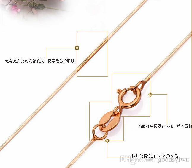 1.2mm 18inch Rose Gold Plated Smooth Snake Chain Necklace fit DIY kinds of Gold Necklace Jewelry PL052