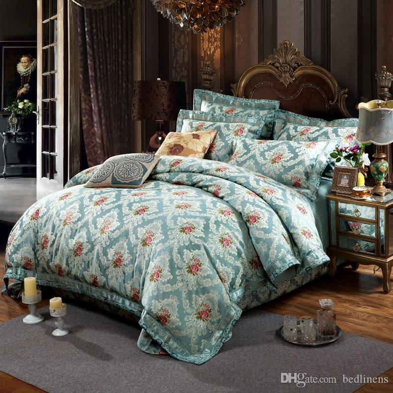 Noble Court Cotton Silk Flower Bedding Sets Quilted Bedspreads King