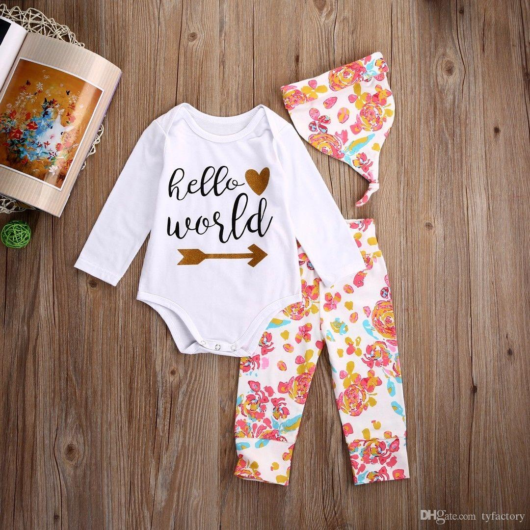high quality girl suits Newborn Baby Girls Hello World long sleeve t shirt Tops Romper+Floral Pants+Hat casual Outfits kids Clothes Set