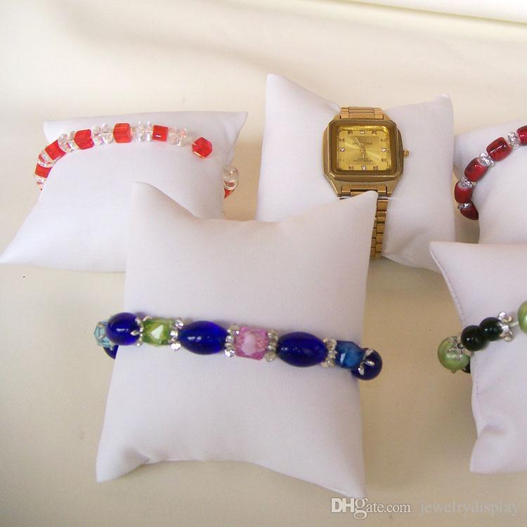 Biżuteria Wyświetlacz Pillow Watch Pillow White Wyświetlacz Biżuteria Poduszka Bransoletka Zegarek Uchwyt Bransoletka Bransoletka Organizator Skórzany Decor 5 sztuk / partia