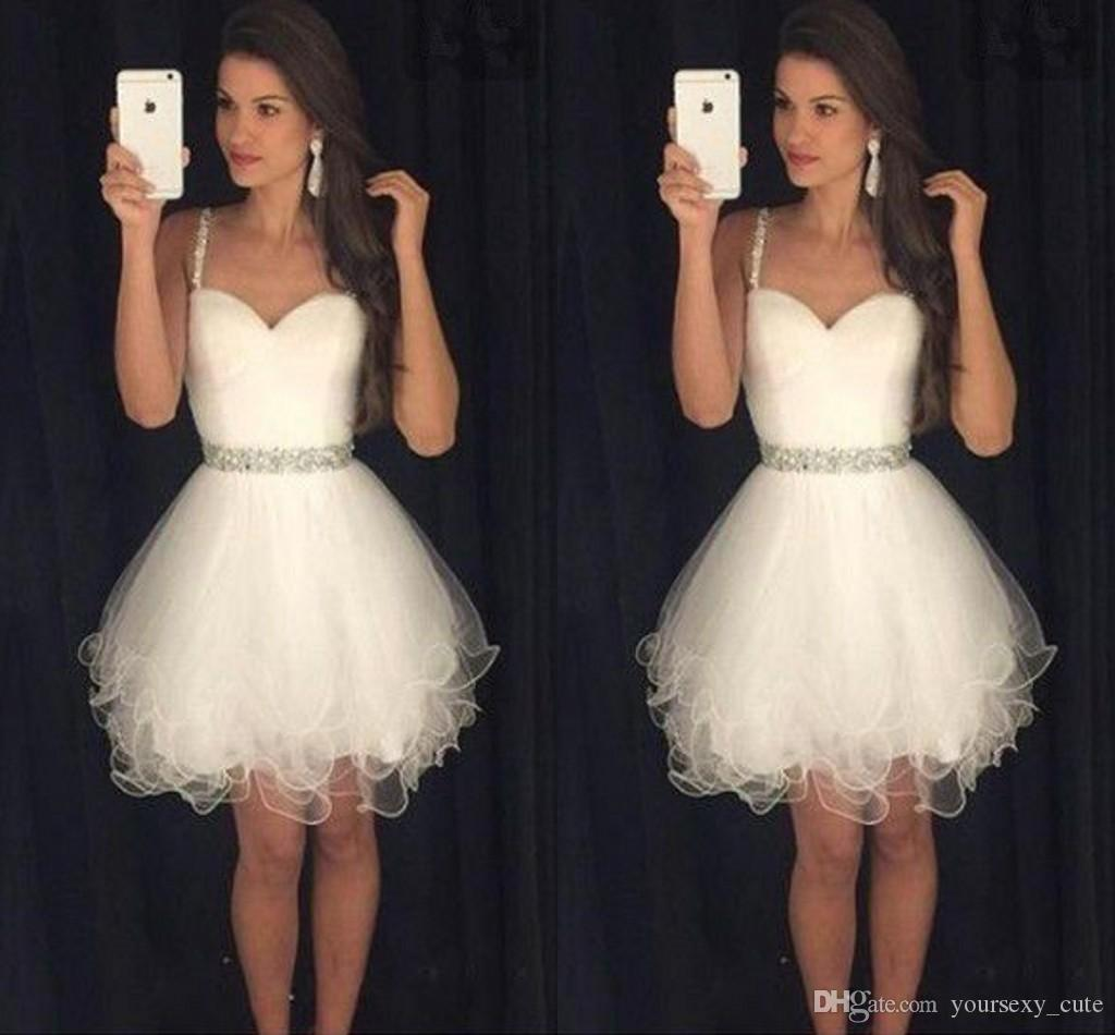 Custom Made White Short Abiti Homecoming Sweetheart Spaghetti cinghie pieghettato Tulle Crystal Prom Dresses Petite Cocktail Party Dress