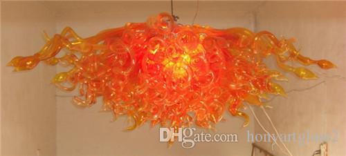 중국 공장 - 콘센트 오렌지 불어 유리 샹들리에 Ifinity 도매 손으로 불어 아트 유리 샹 들리 LED 버블 빛