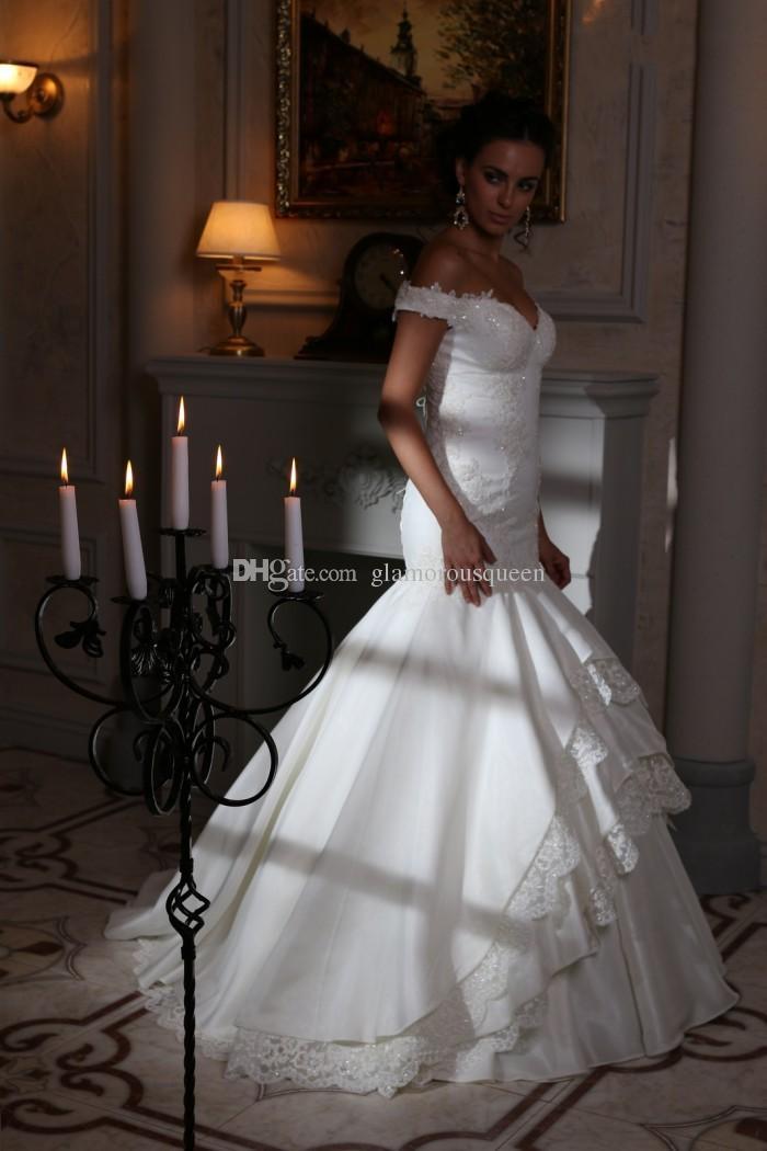 Western Style Mermaid V-Ausschnitt Elfenbein Taft Spitze Brautkleider vestidos de novia mit Flügelärmeln Perlen Applikationen Braut Brautkleider