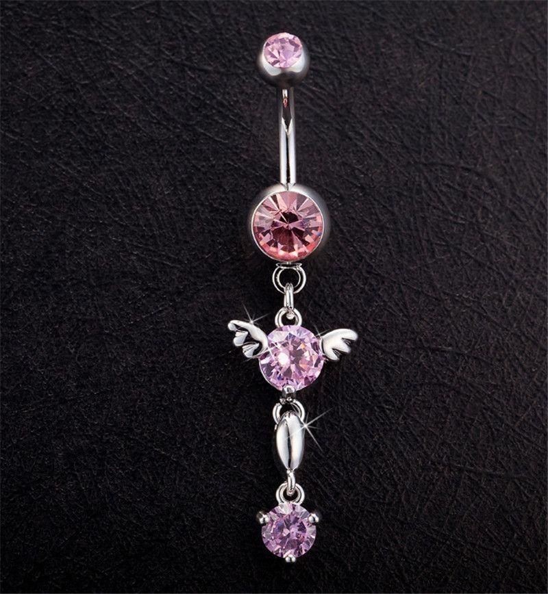 Heißer Verkauf Hohe Qualität Winkel Nabel Schnalle Bar Bell Button Ringe Frauen Piercing Nabel Körper Ring Schmuck BR-020