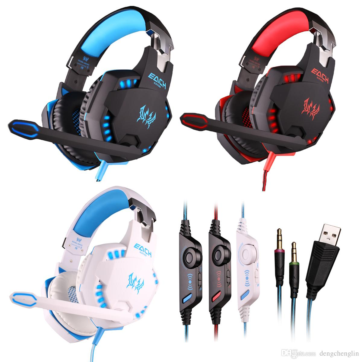 G2100 3.5MM Gaming Headphone Vibration Function Headset with Mic Stereo Bass Earphone LED Light for PC Laptop High quality