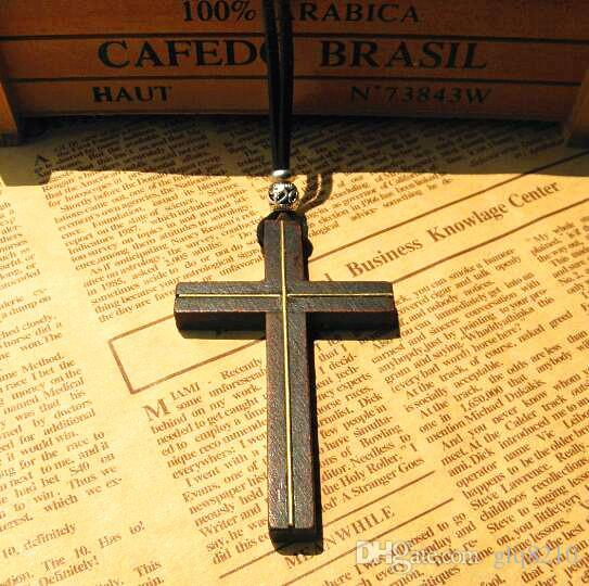 مطعمة النحاس خشبية الصليب قلادة قلادة خمر الجلود الحبل سترة سلسلة رجال نساء مجوهرات اليدوية أنيقة المسيحية يسوع 12 قطع