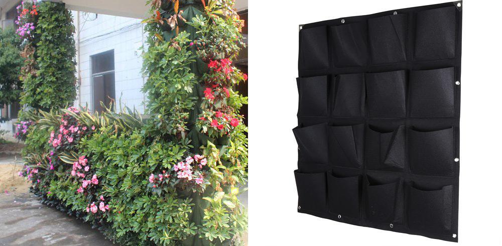 16 Taschen Vertikaler Blumentopf für die Gartenarbeit mit Kräutern Hängender Blumentopf An der Wand befestigter Wandpflanzbeutel für den Innen- und Außenbereich