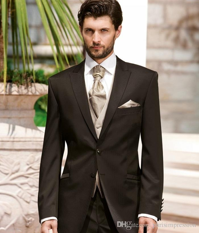 Brown Mens Wedding Tuxedos Mens Suit Peaked Lapel Wedding Suits for ...