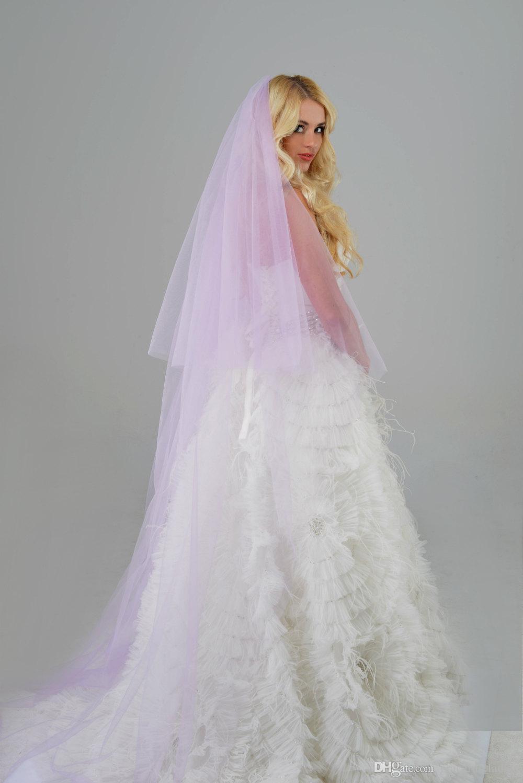 Veli da sposa viola con blusher morbido tulle in metallo pettine 98 pollici lungo colore personalizzato / lunghezza veli da sposa nuovi 2017 veli spose