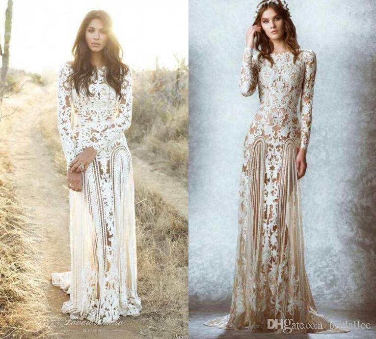 Zuhair murad dentelle vintage robes de mariée personnalisée fait des manches longues de la cour de la plage campagne rôles de mariée équipage a-ligne étonnante dentelle