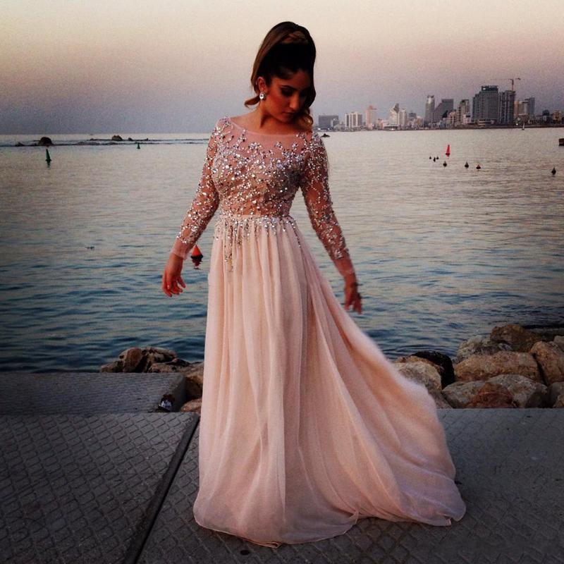 2016 Fabrika Gerçekten Resim Abiye Uzun Kollu Boncuklu Sequins Yüksek Qaulity Malzeme Abiye giyim Elbise Parti Dans Giymek