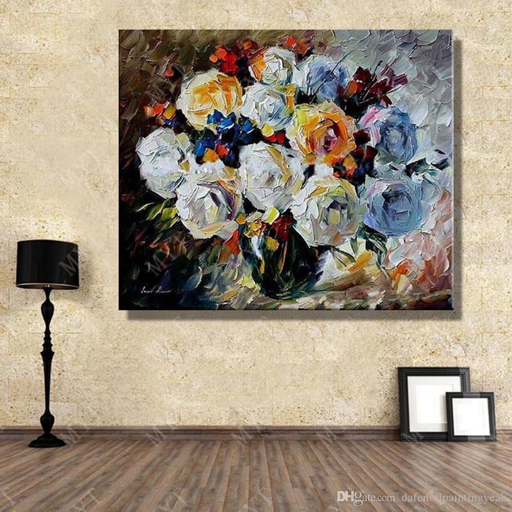 Abstract Vase Flower Oil Painting For Bedroom Decor Hand Painted Canvas Picture No Framed