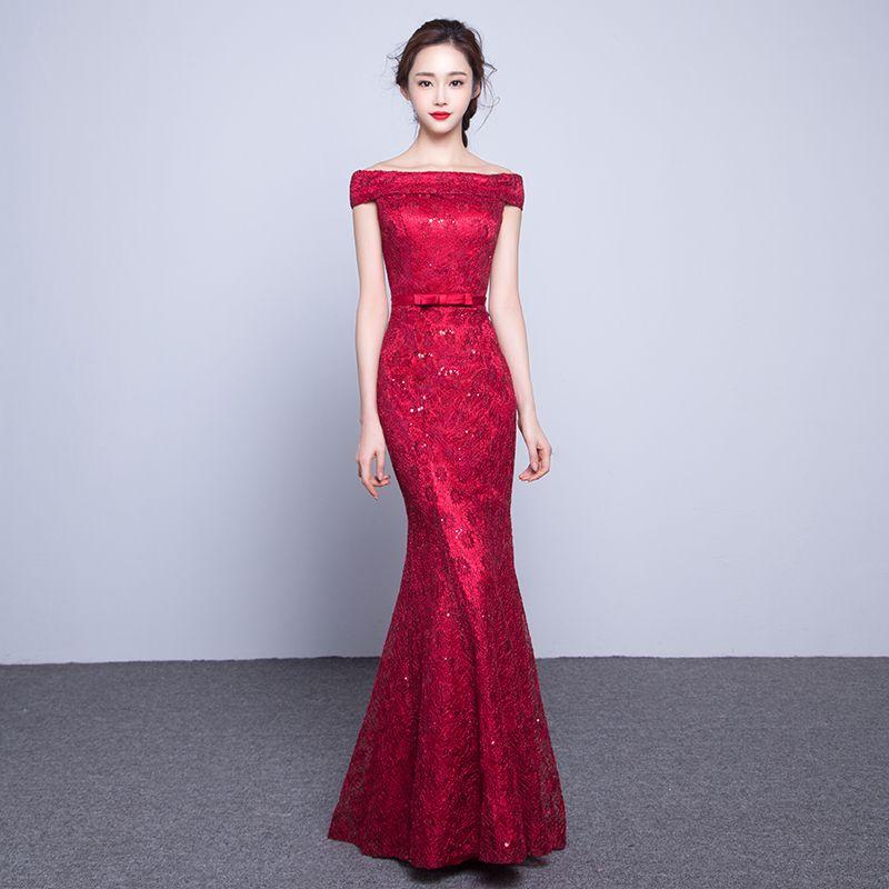 pas mal 1e54c 46828 Robe de soirée sirène en dentelle col bateau 2019 bordeaux robes de soirée  en dentelle rouge marine