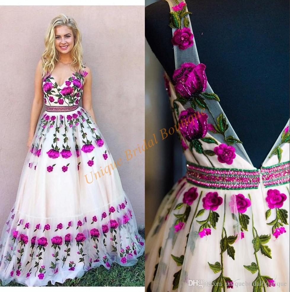 Prom Dresses 2018 3d Floral With V Neck And Backless Real Photo ...