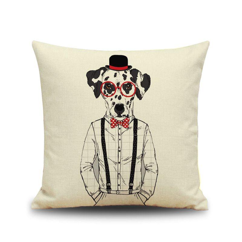 Sayın Köpek Keten Yastık Kılıfı Köpek Gözlük Ile Kişi Yastık Kapak Köpek Tarzı Araba Yastık Örtüsü Ev Kanepe Şekerleme Yastık Kılıfları