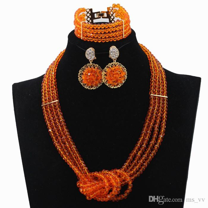 Best Selling Cheap orange gold Statement Necklaces crystal Sets Bridesmaids Jewelry set Lady Women's Prom Party Fashion Jewelry Earrings