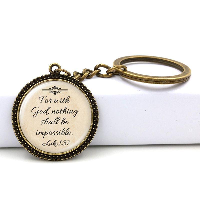 Mode Jésus Bijoux Chrétien Porte-clés Foi Avec Dieu Rien n'est Impossible Citation Bijoux Verre Dire Porte-clés 2017 Cadeaux