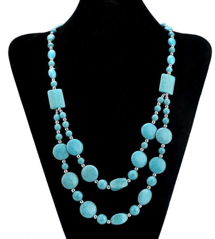Collana di turchese retrò stile europeo lunga collana di gioielli classici perline di doppio strato vintage doppio 16 disegni mescolano il trasporto libero