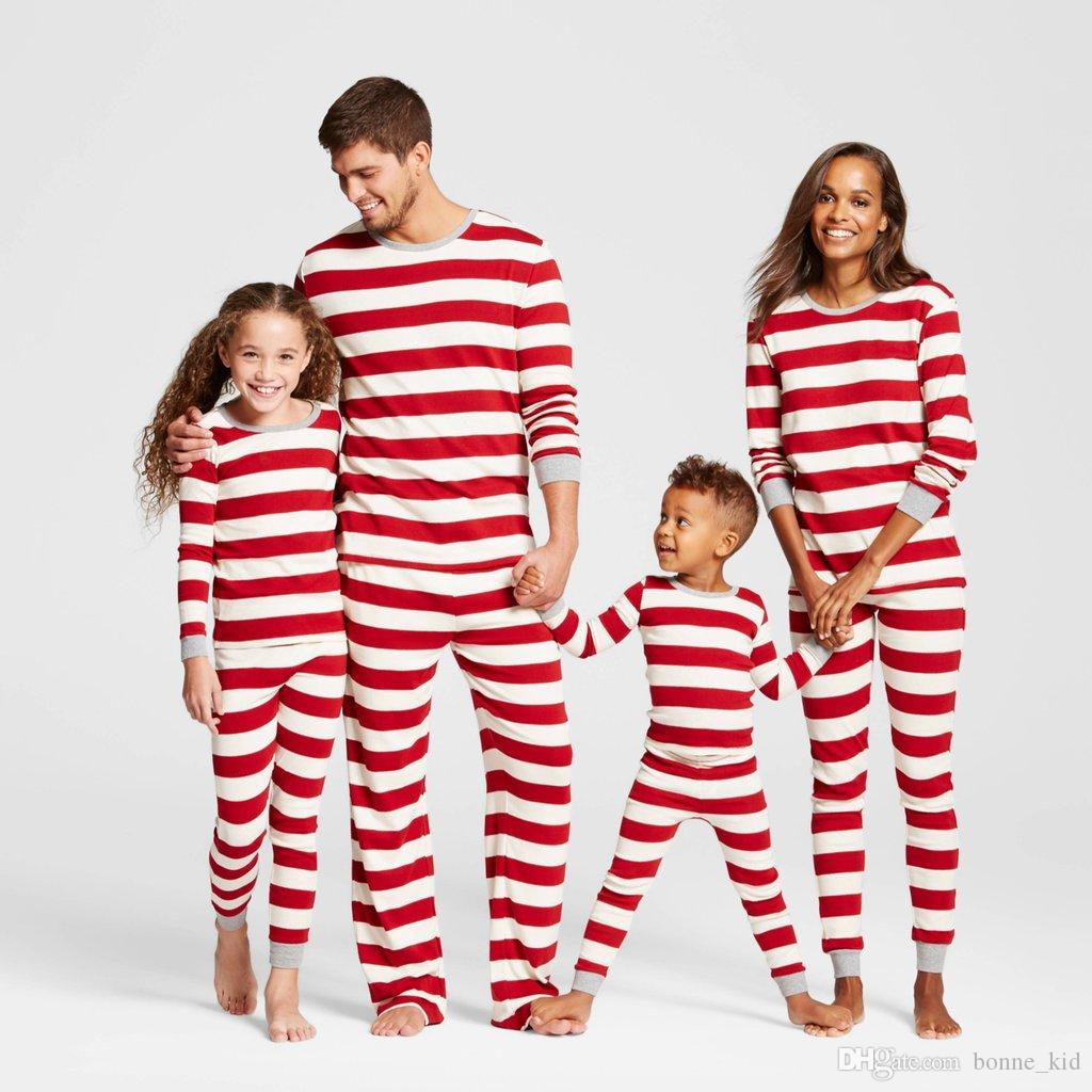 2 Adult Sets.... Family Christmas Pajamas Set Father Mother Kids Striped Xmas PJS Set Baby 2Pcs Clothing Set Family Pajamas pe0ij
