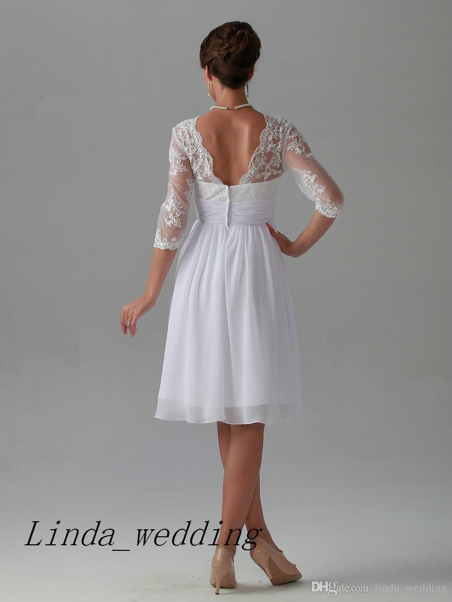 Envío gratis alta calidad recepción de boda vestido de mujer nuevo hasta la rodilla corto vestido de novia de encaje de gasa vestido de mujer